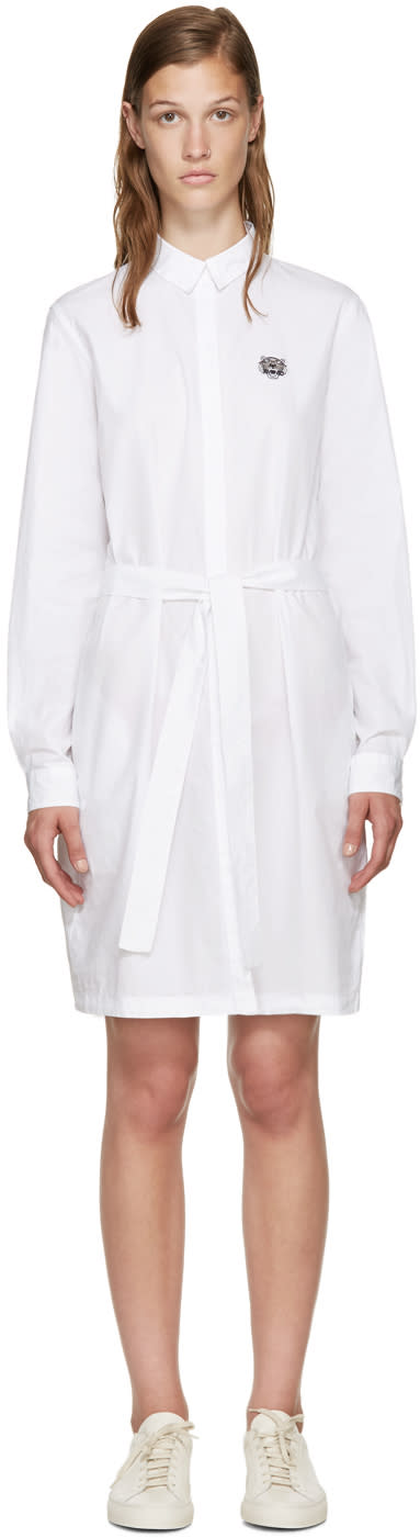 Kenzo White Poplin Belted Dress
