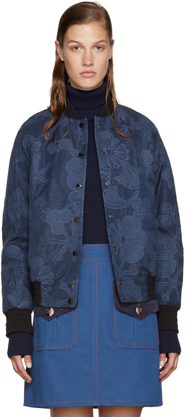 Kenzo Blue Embroidered Tanamy Bomber Jacket