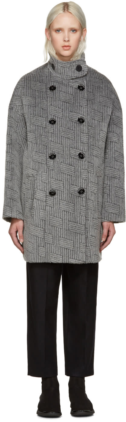 Kenzo Grey Ny Stripes Coat