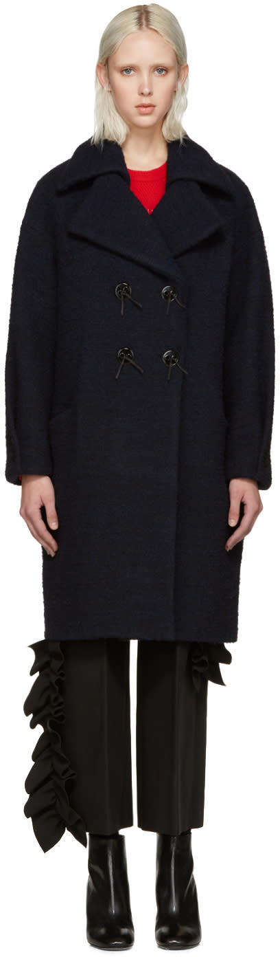 Kenzo Blue Brushed Wool Coat