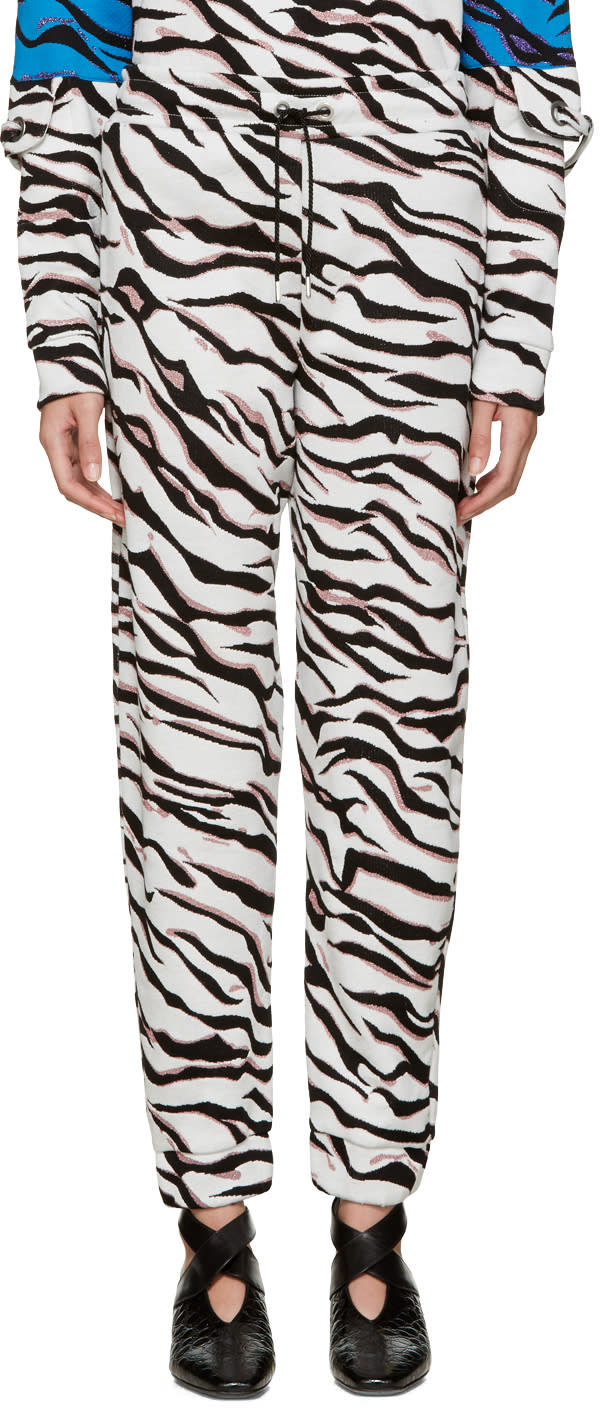 Kenzo White Tiger Stripe Lounge Pants