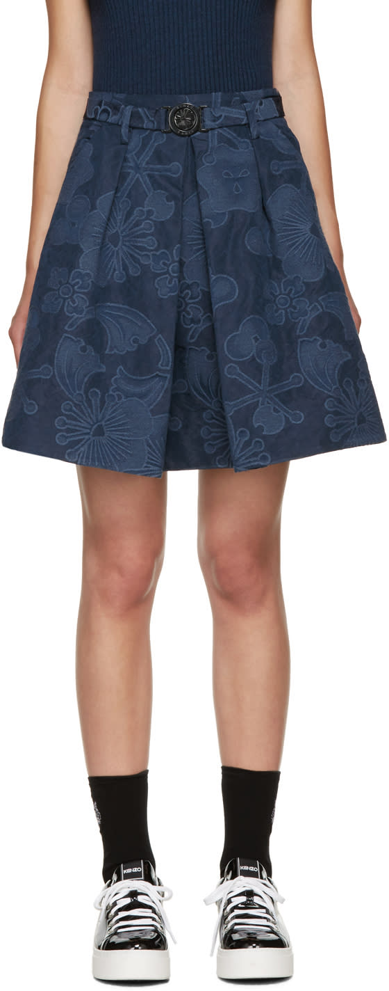 Kenzo Navy Floral Jacquard Skirt