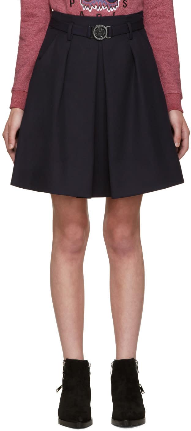 Kenzo Blue Wool Belted Skirt