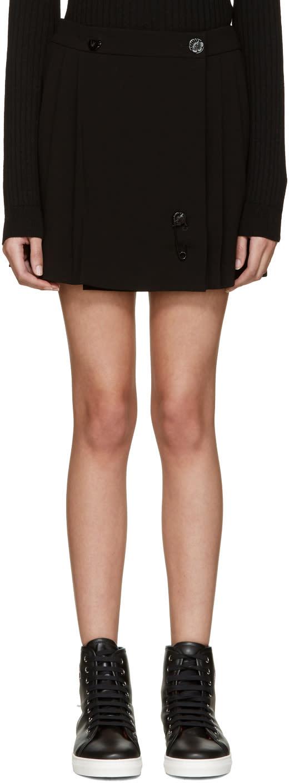 Kenzo Black Pleated Wrap Miniskirt
