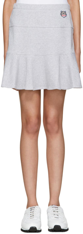 Kenzo Grey Flared Tiger Miniskirt