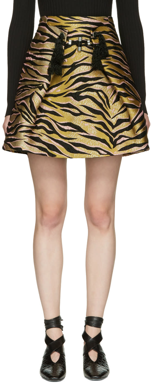 Kenzo Beige Tiger Stripes Miniskirt