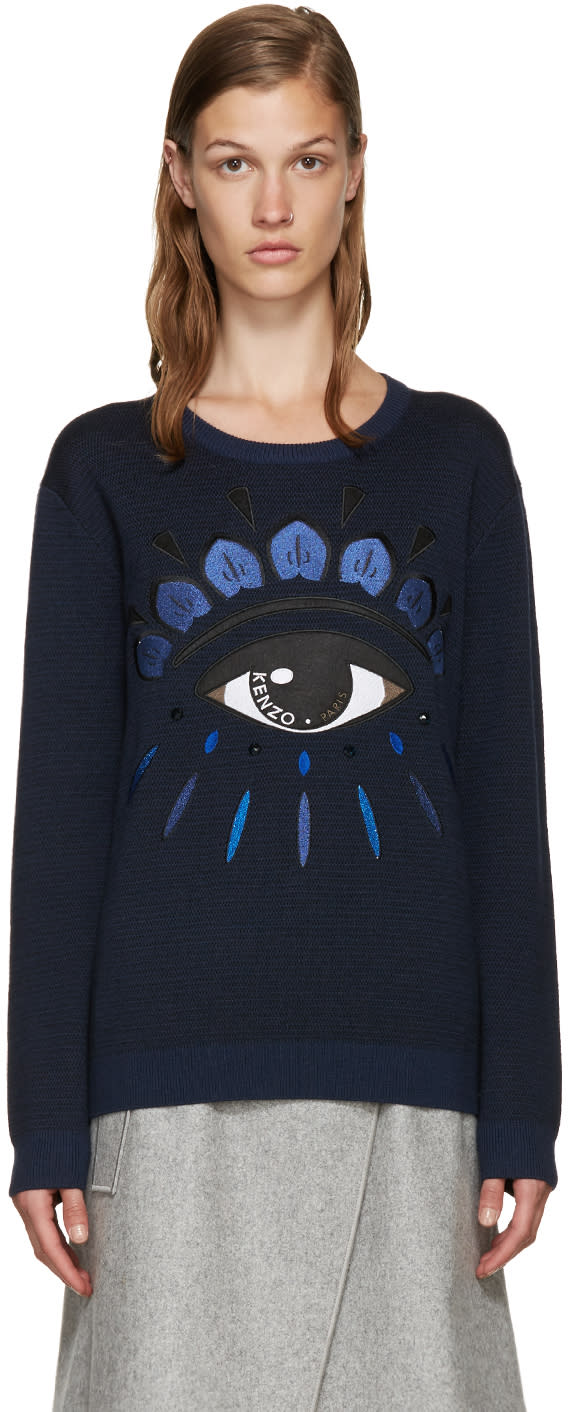 Kenzo Blue Jacquard Eye Sweater