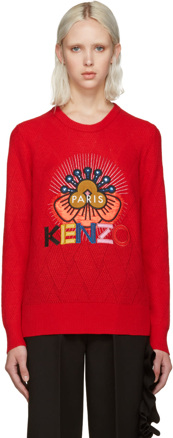 Kenzo Red Embellished Logo Sweater