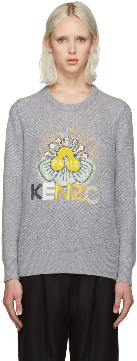 Kenzo Grey Wool Tanami Flower Sweater