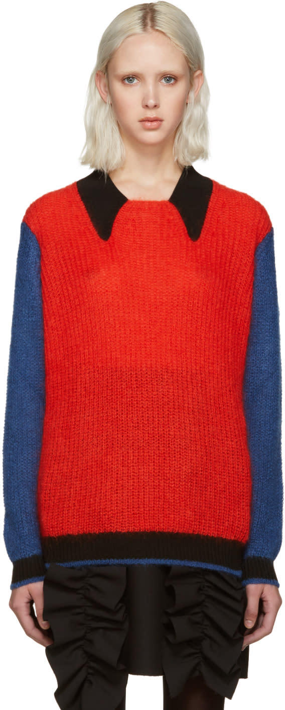 Kenzo Red Colorblocked Sweater
