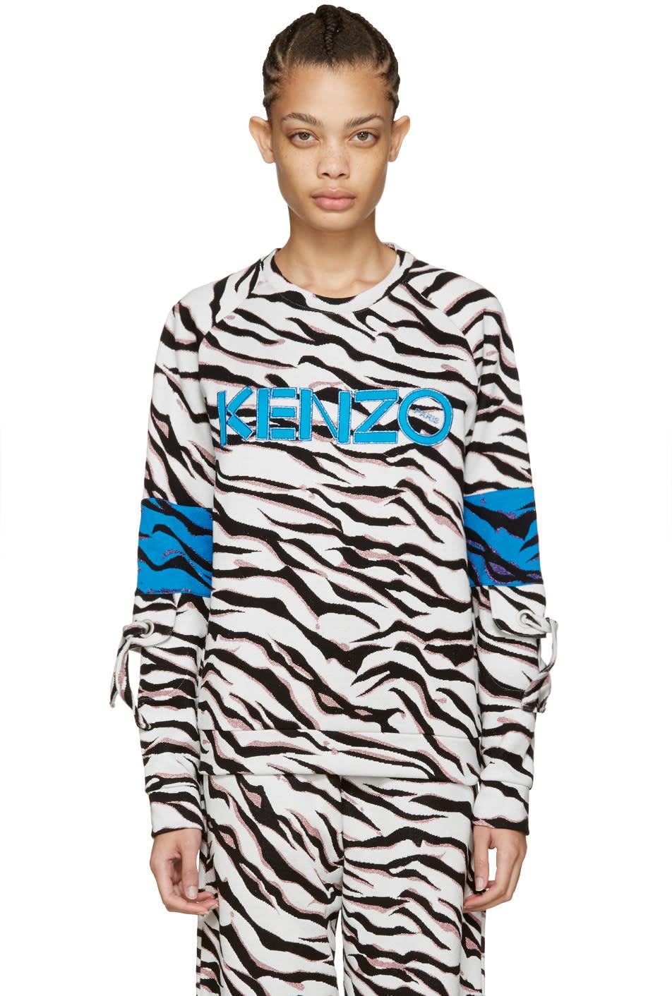 Kenzo White Tiger Stripe Logo Pullover