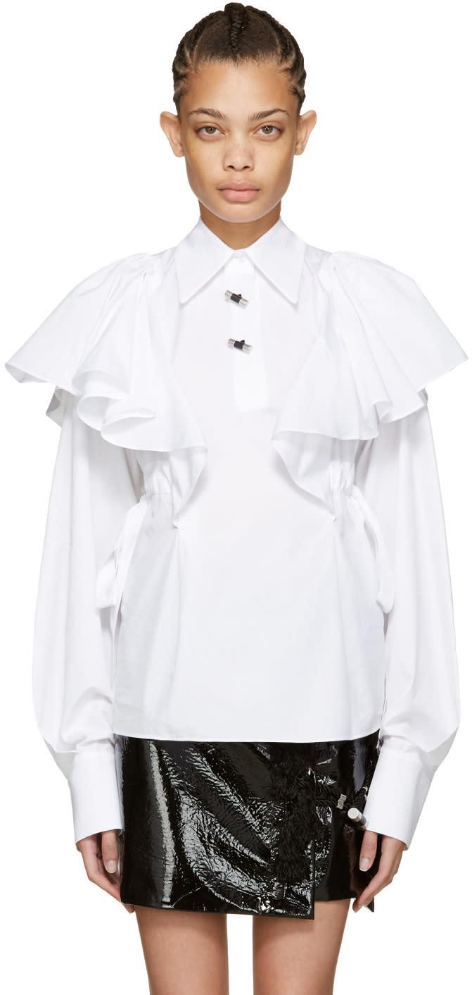 Kenzo White Oversized Ruffle Shirt