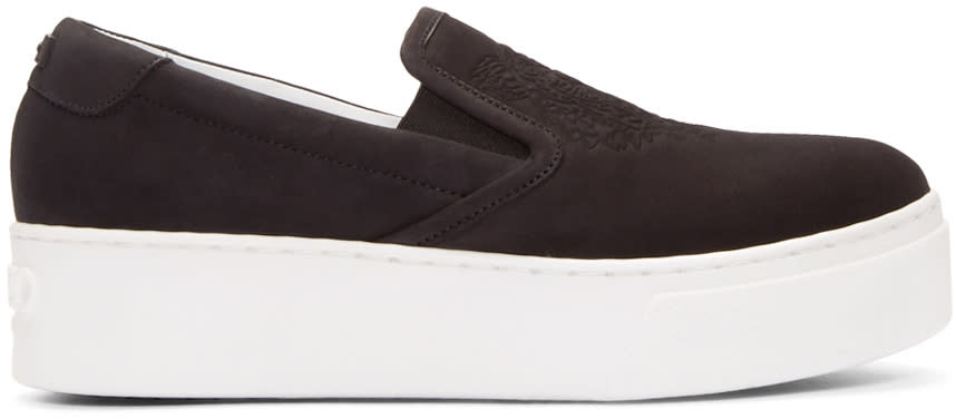 Kenzo Black Suede Tiger Slip-on Sneakers