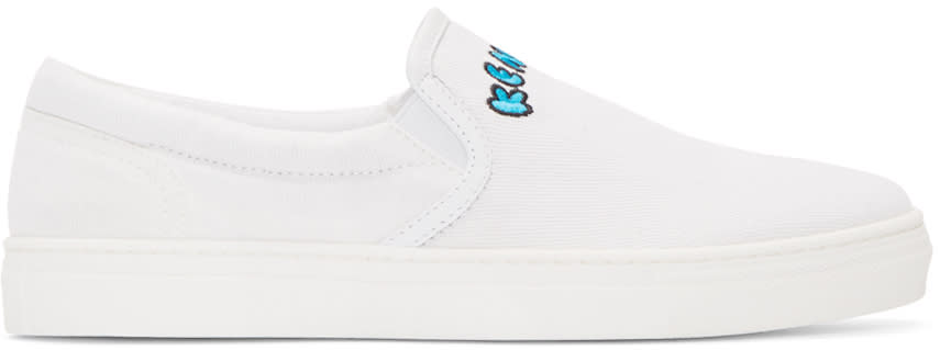 Kenzo White Canvas Slip-on Sneakers