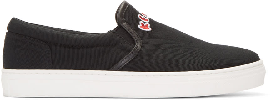 Kenzo Black Canvas Slip-on Sneakers