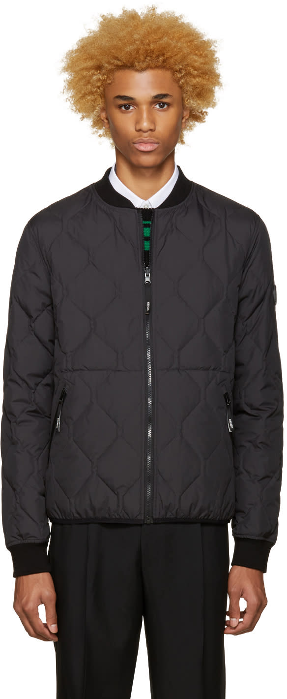 Kenzo Black Reversible Quilted Bomber Jacket