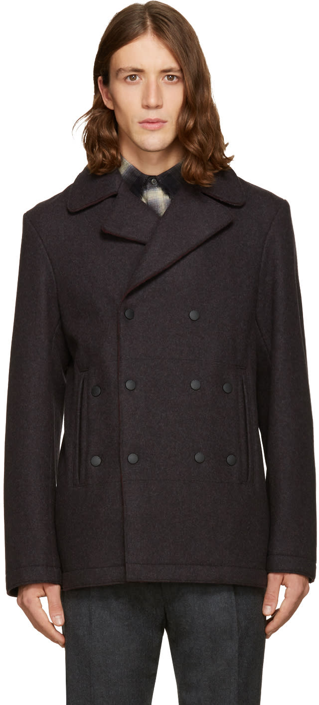 Kenzo Grey Wool Raw Edges Coat