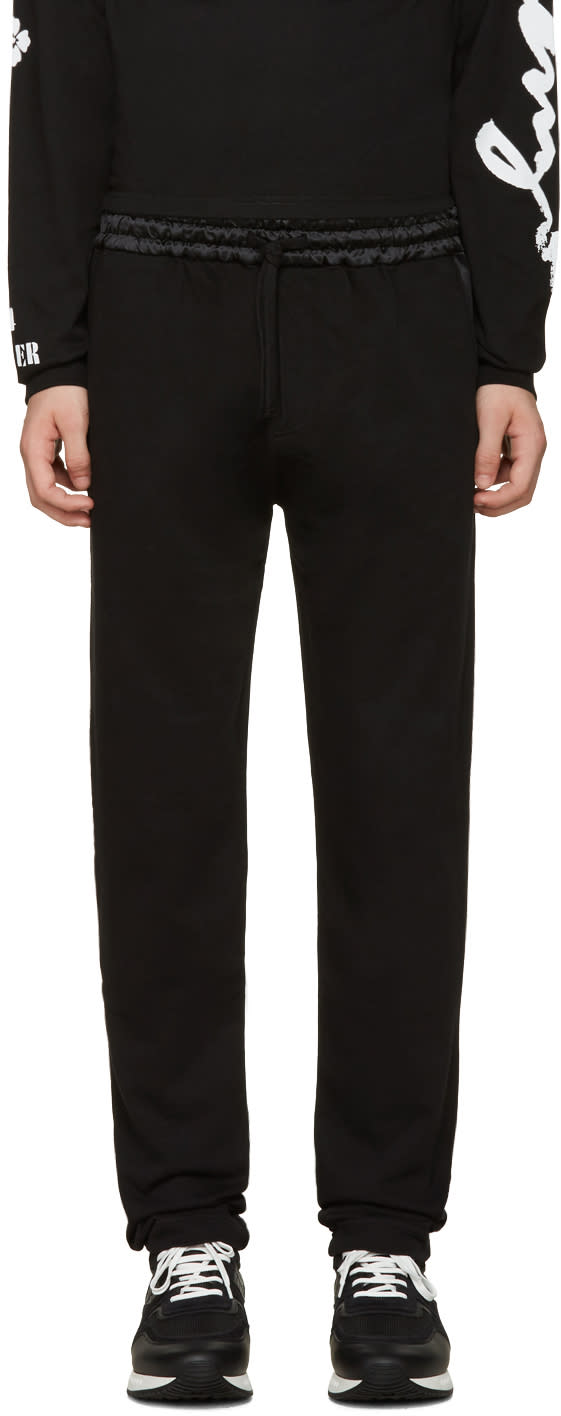 Kenzo Black Satin-trimmed Lounge Pants