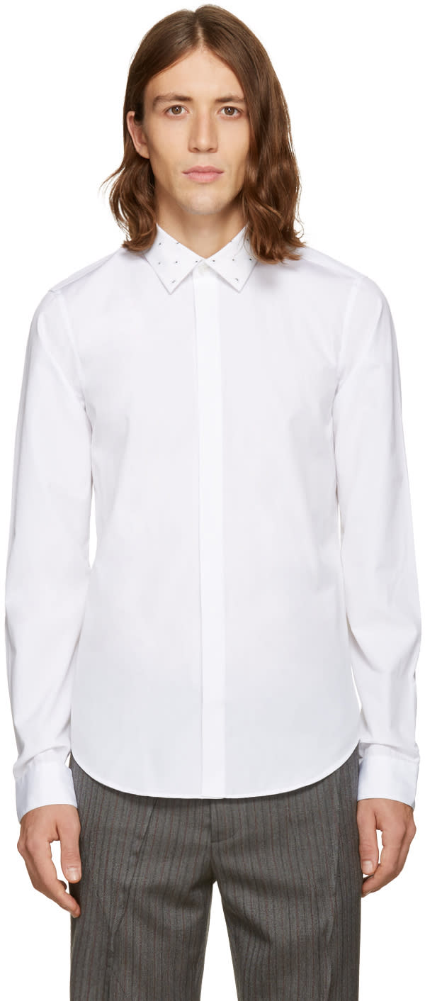 Kenzo White Patterned Collar Shirt