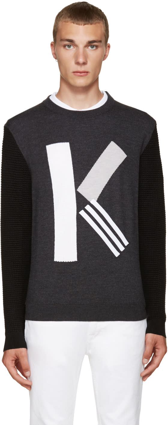 Kenzo Grey Textured Wool k Sweater