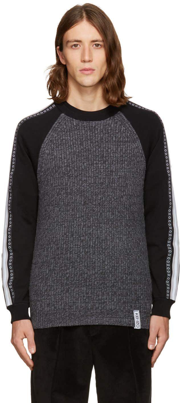Kenzo Grey Contrast Sleeve Sweater