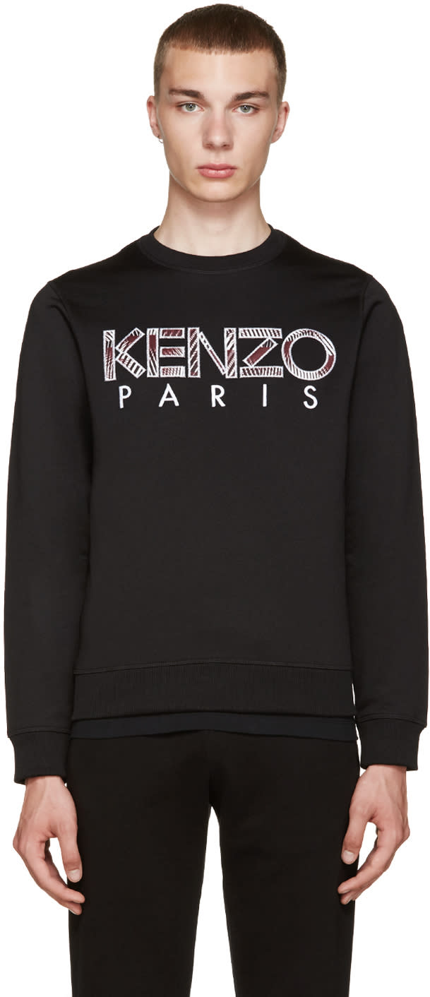 Kenzo Black Embroidered Logo Pullover