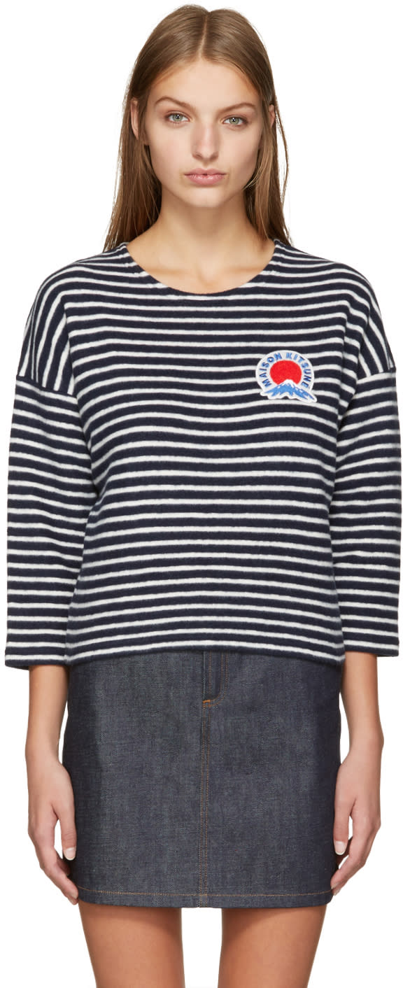 Maison Kitsune Navy Cropped Marin Pullover