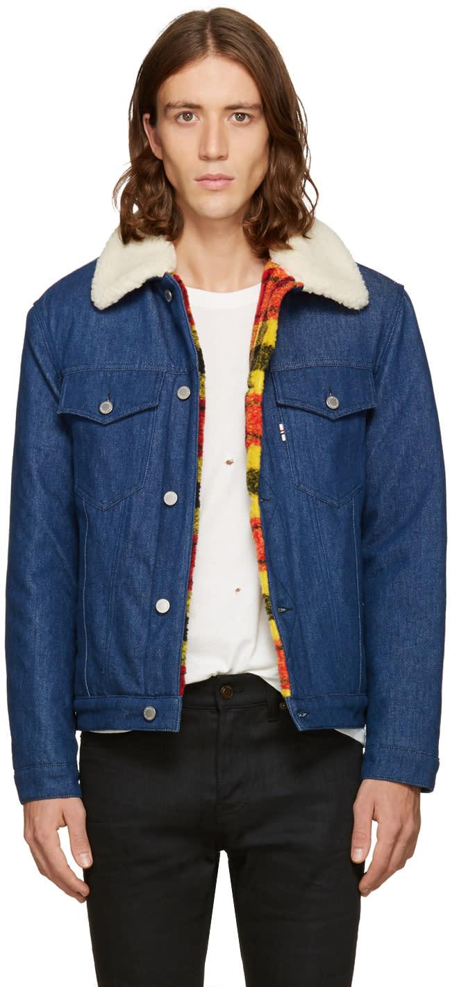 Maison Kitsuné ブルー デニム トラッカー ジャケット