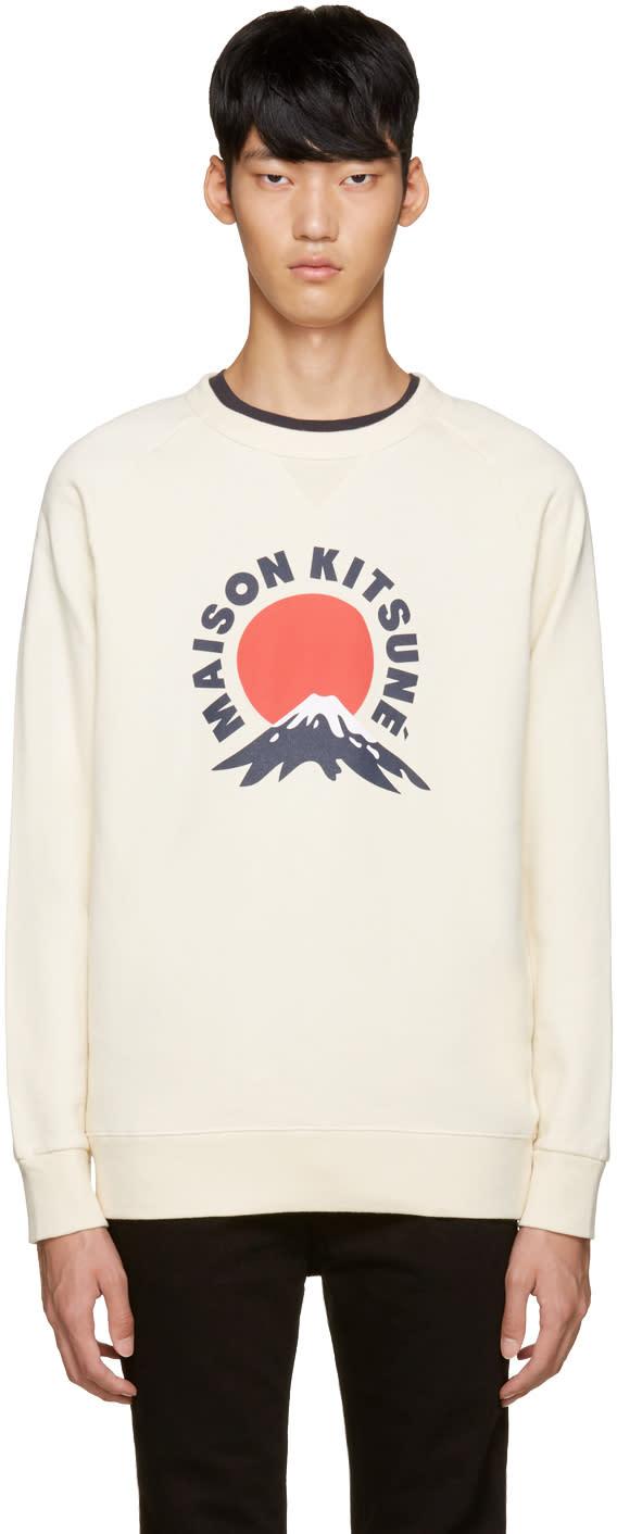 Maison Kitsuné オフホワイト マウント フジ スウェットシャツ
