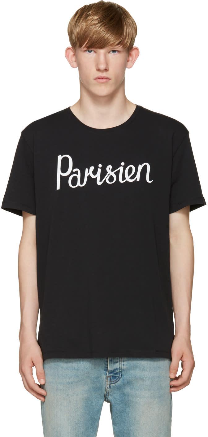 Maison Kitsuné ブラック パリジャン T シャツ