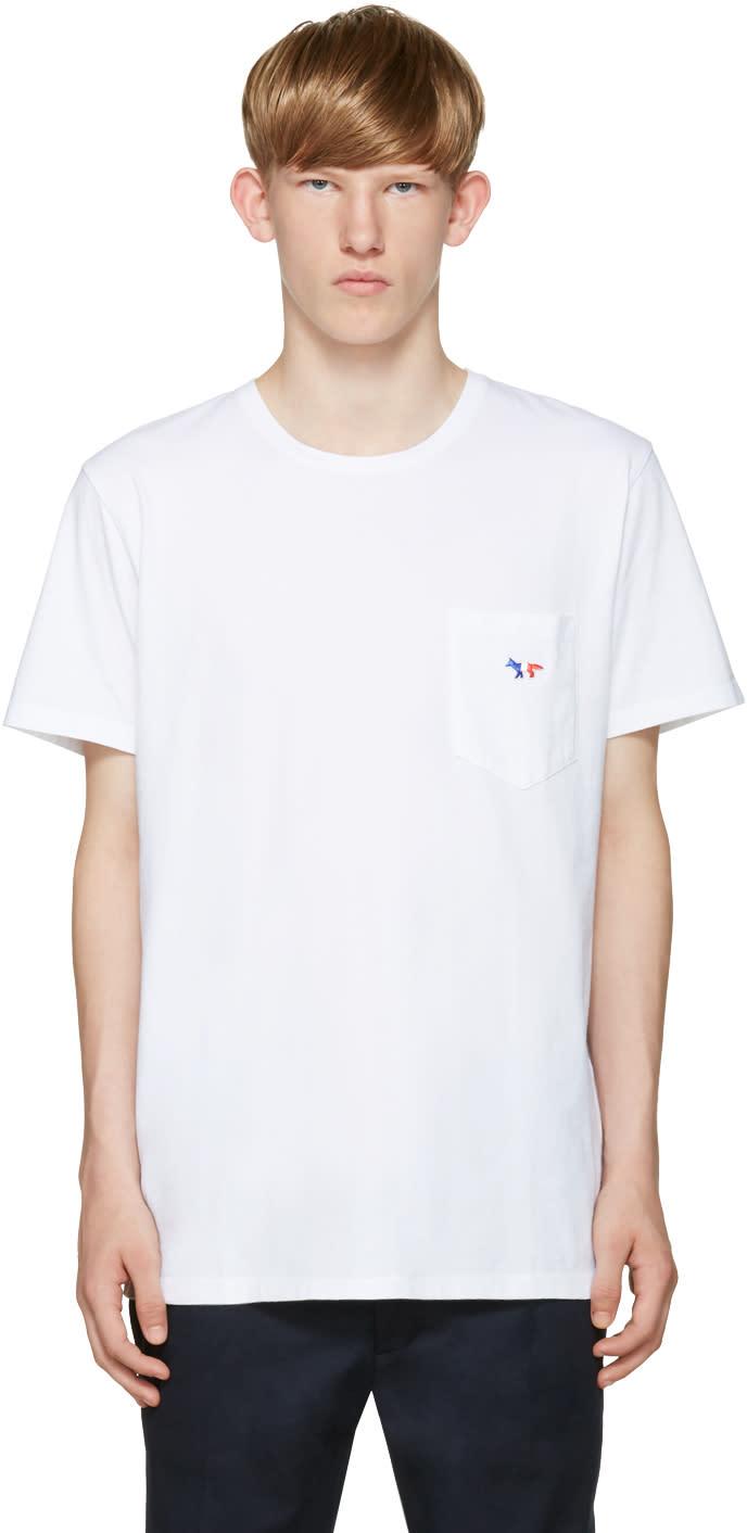 Maison Kitsuné ホワイト 刺繍� �りポケット T シャツ