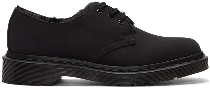 Dr. Martens Black Fur-lined Mono Derbys