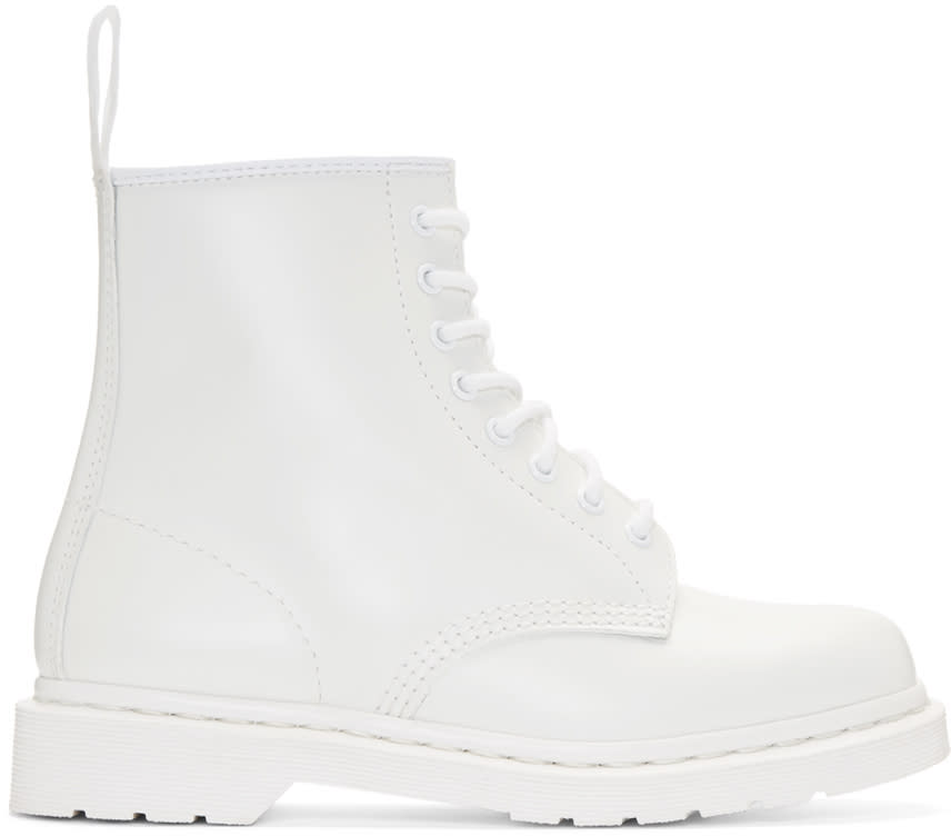 Dr. Martens White Eight-eye 1460 Mono Boots