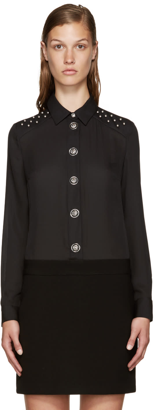 Versus Black Studded Shirt Dress