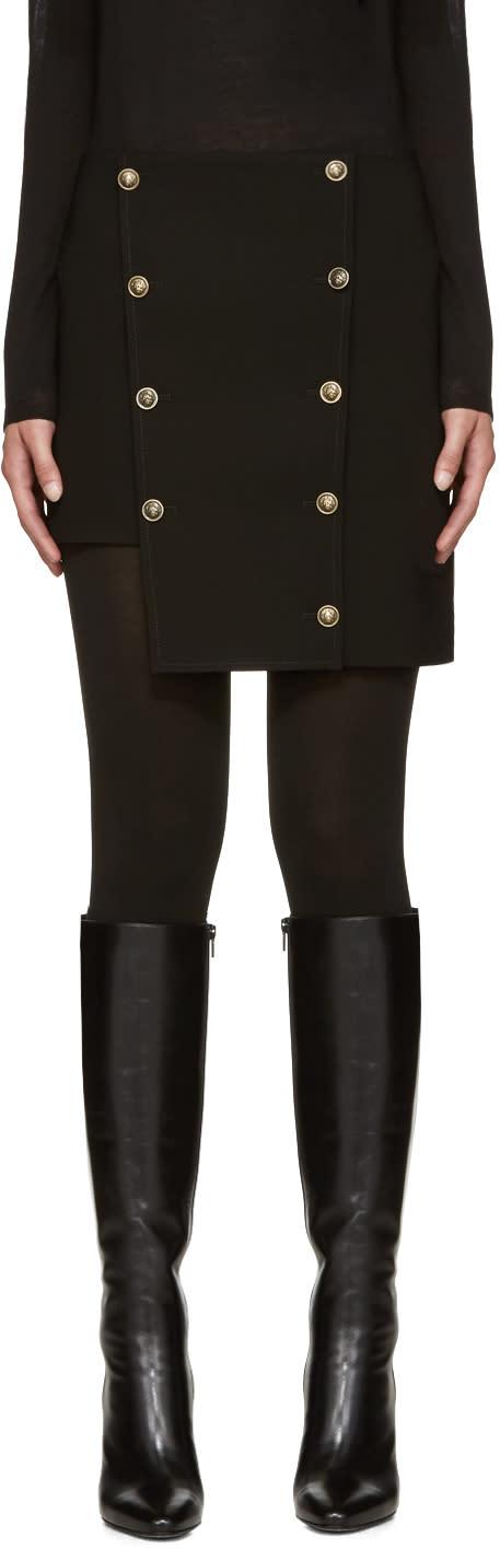 Versus Black Asymmetric Buttoned Miniskirt