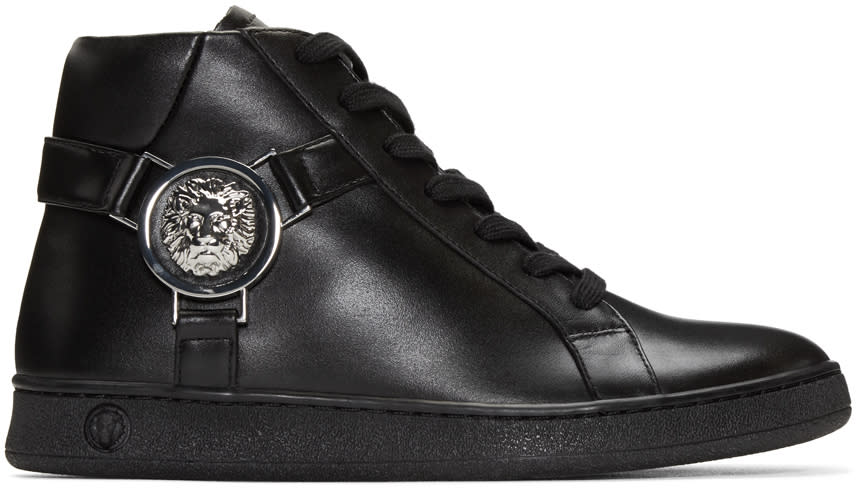 Versus Black Leather High-top Sneakers