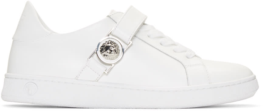 Versus White Lion Medallion Sneakers