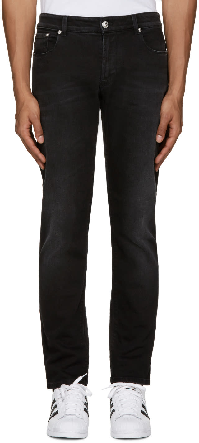 Versus Black Slim Lion Medallion Jeans