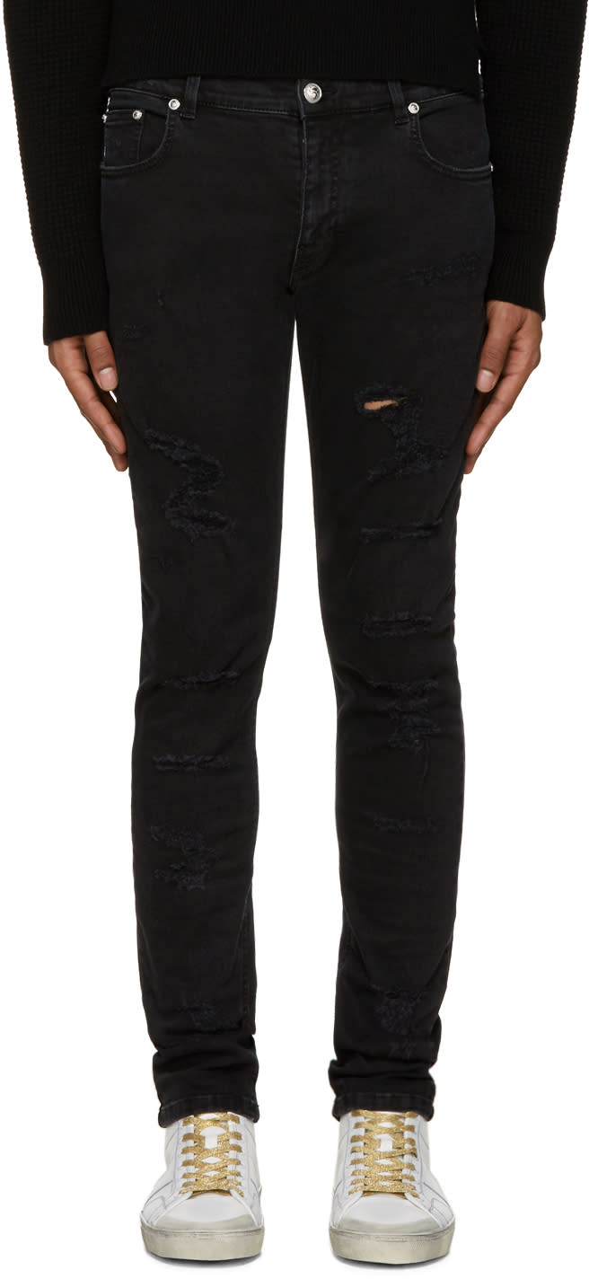 Versus Black Distressed Jeans