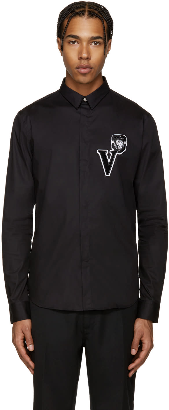 Versus Black Embroidered Shirt
