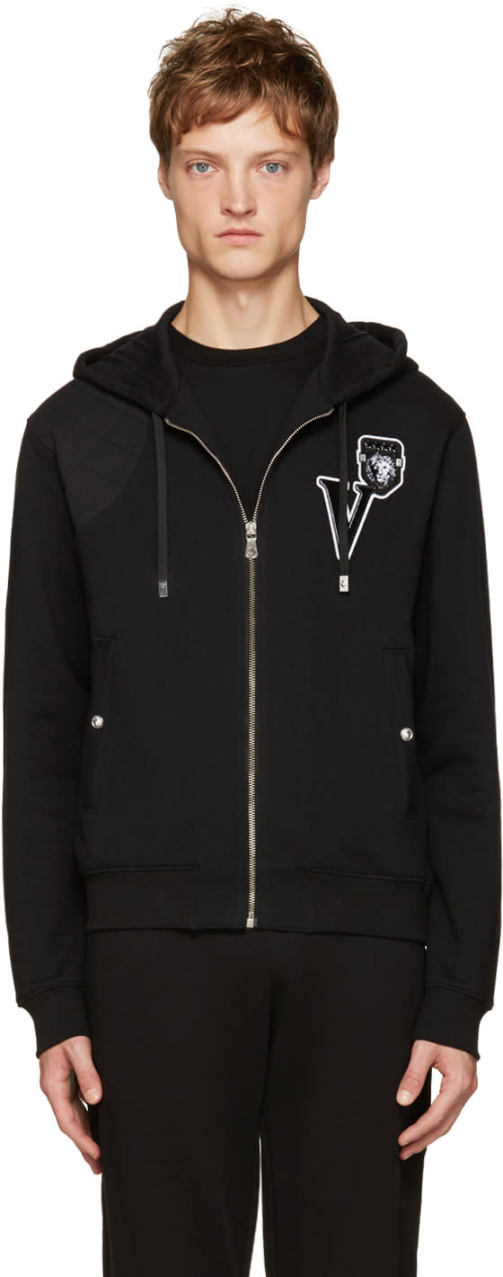 Versus Black Embroidered Logo Zip Hoodie