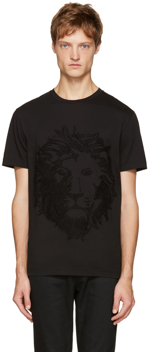 Versus Black Embroidered Lion T-shirt