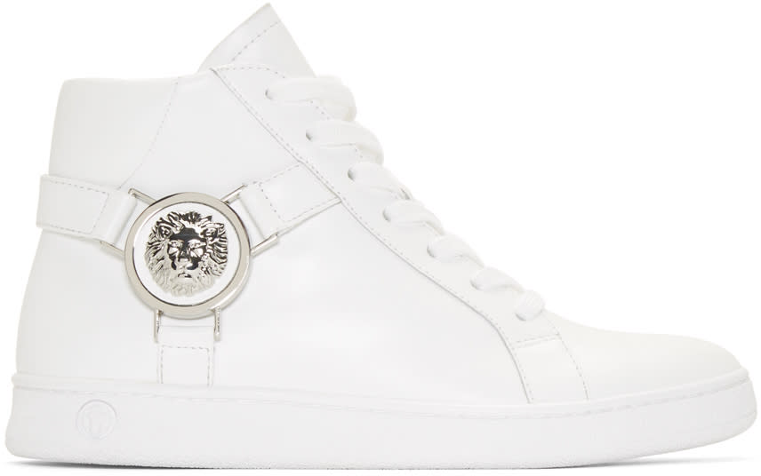 Versus White Leather High-top Sneakers