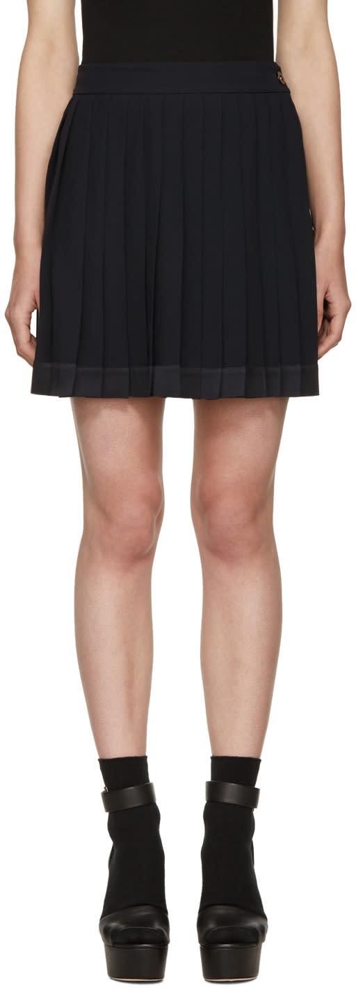 Versace Navy Pleated Miniskirt