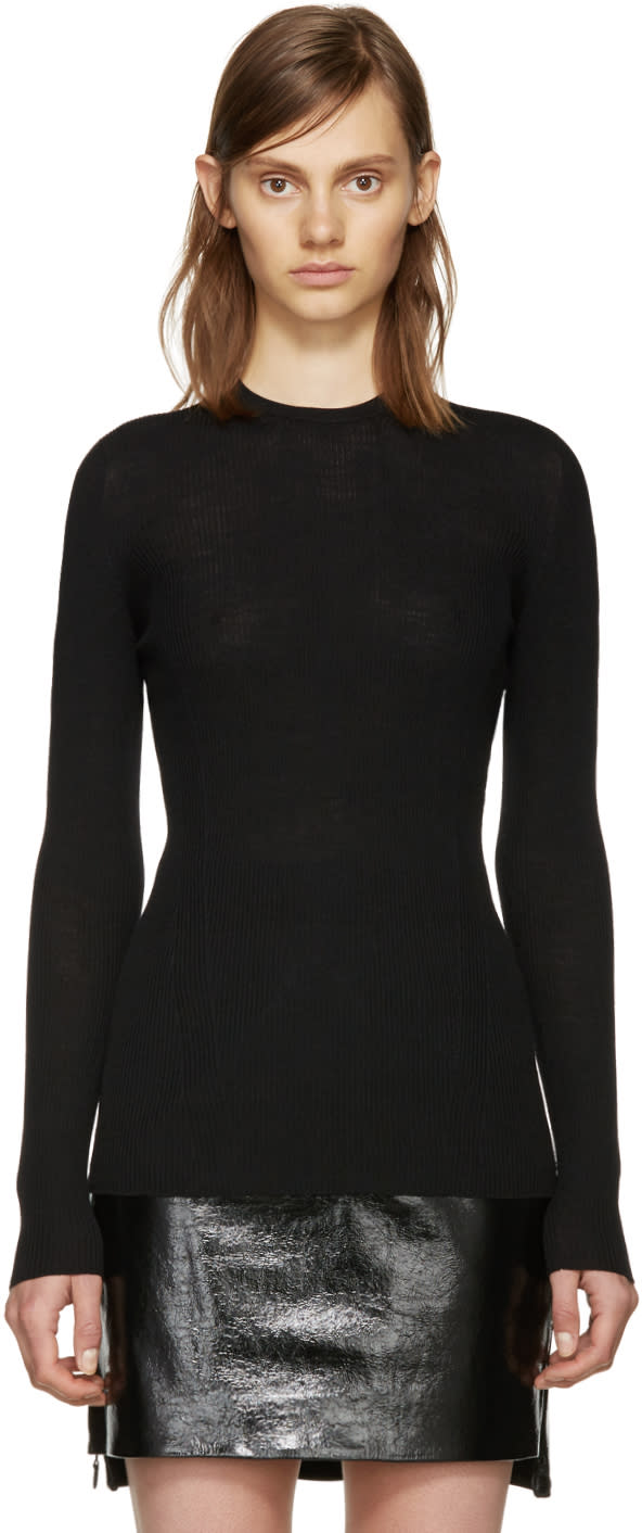 Versace Black Wool Ribbed Sweater