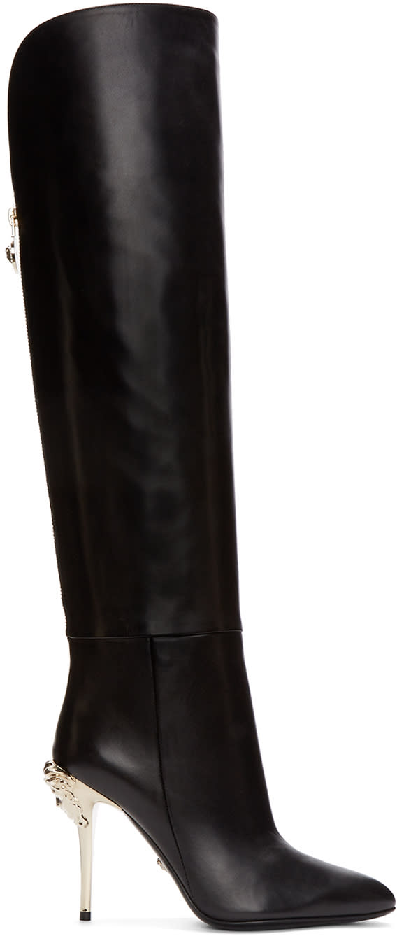 Versace-Black-Knee-high-Medusa-Boots