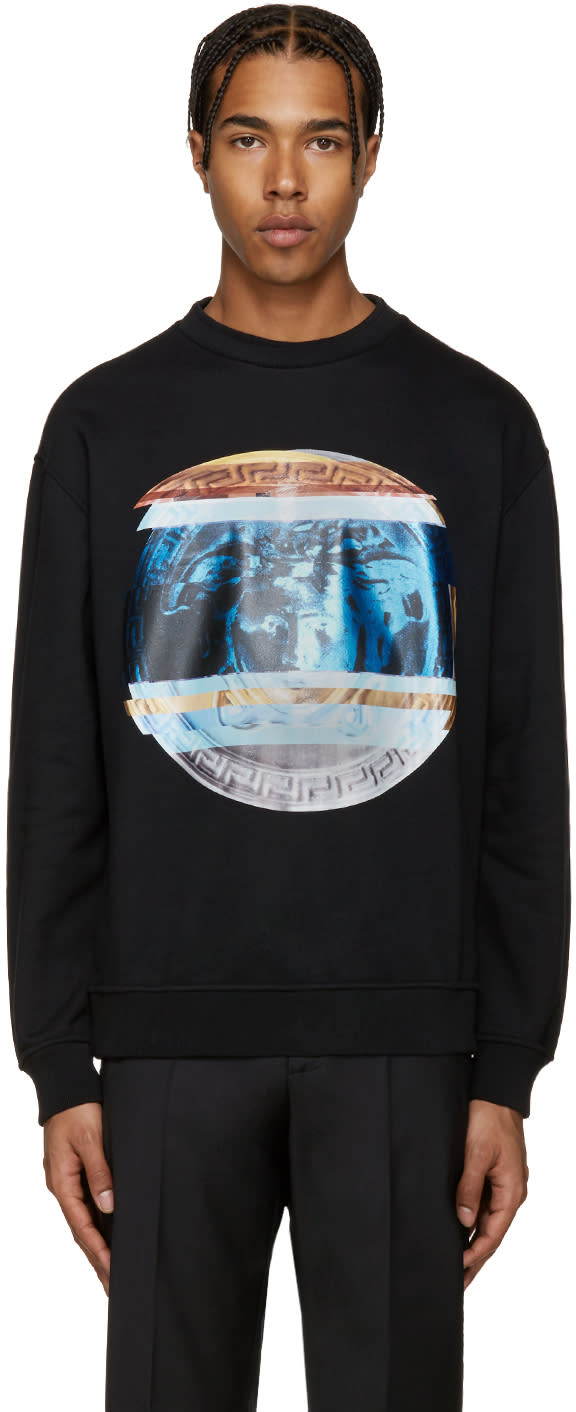 Versace Black Print Pullover