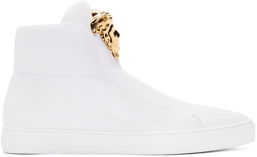 Versace White Leather Medusa High-top Sneakers
