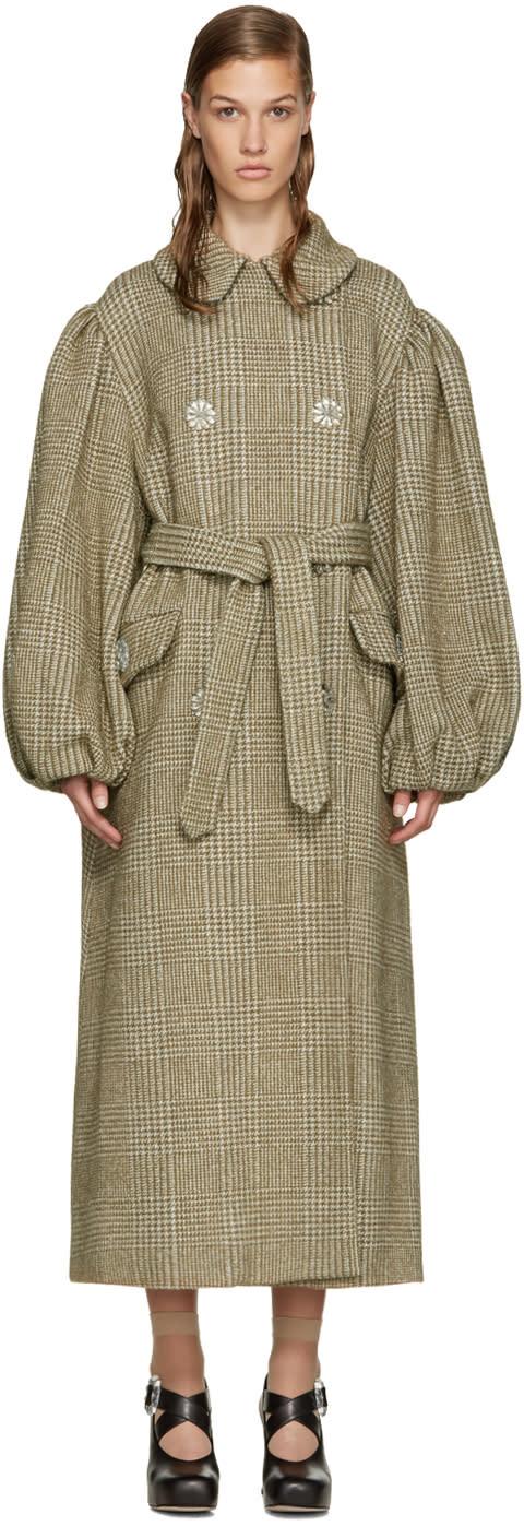 Simone Rocha Khaki Sparkle Houndstooth Coat