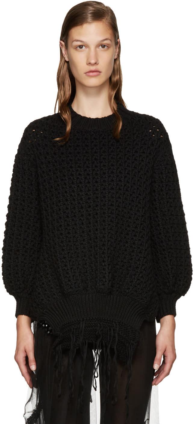 9b846773b3 Simone Rocha Black Fringe Knit Sweater